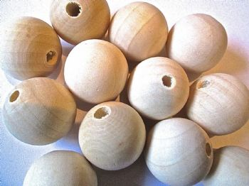 Large Plain Unfinished Wood Beads Choice of Size 30mm and 40mm